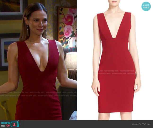 Esmira Fitted V-Neck Dress by Alice + Olivia worn by Ava Vitali (Tamara Braun ) on Days of our Lives