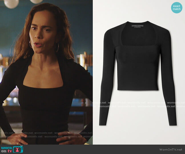 Ricarda cropped stretch-knit top by Alice + Olivia worn by Teresa Mendoza (Alice Braga) on Queen of the South
