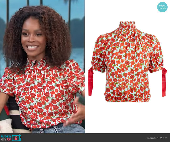 Irene Blouse by Alice + Olivia worn by Zuri Hall  on Access Hollywood