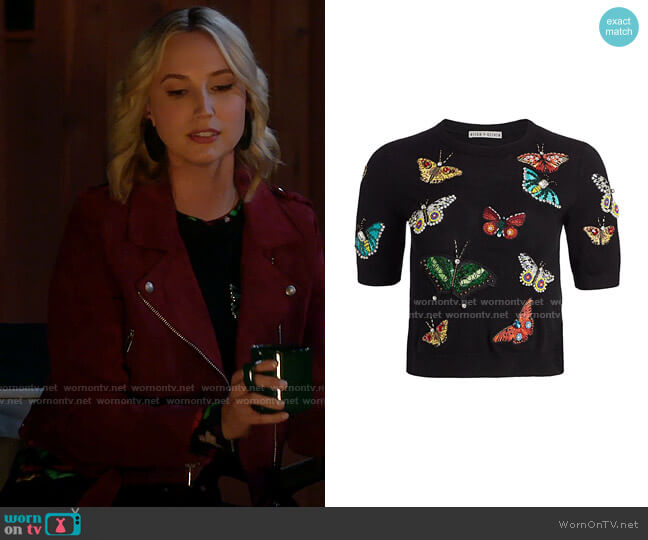 Alice + Olivia Ciara Butterfly Embroidered Sweater worn by Mandy Baxter (Molly McCook) on Last Man Standing