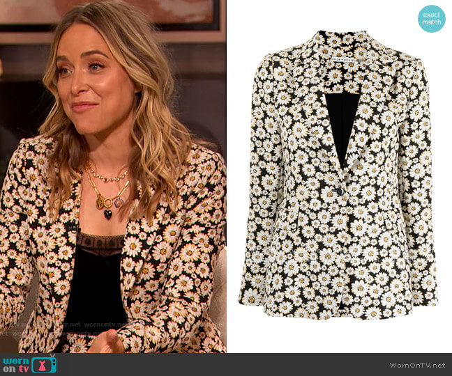 Floral-print single-breasted blazer by Alice + Olivia worn by Jenny Mollen on The Drew Barrymore Show