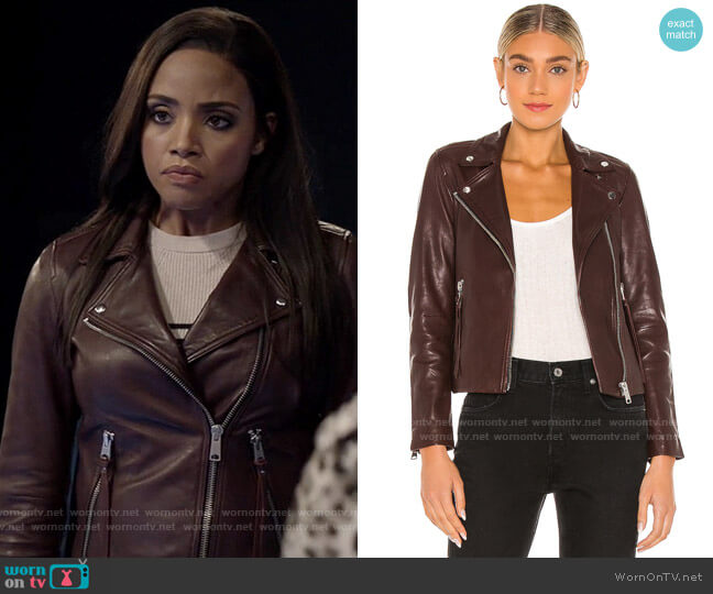 All Saints Dalby Jacket in Oxblood Brown worn by Sophie Moore (Meagan Tandy) on Batwoman