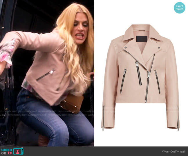 All Saints Kassia Leather Jacket in Peony Pink worn by Summer Dutkowsky (Busy Philipps) on Girls5eva