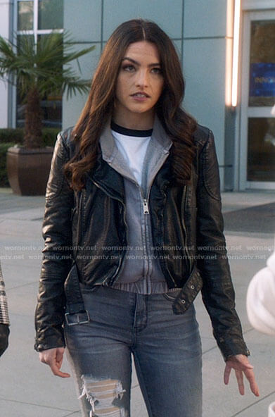 Allegra's belted leather moto jacket on The Flash