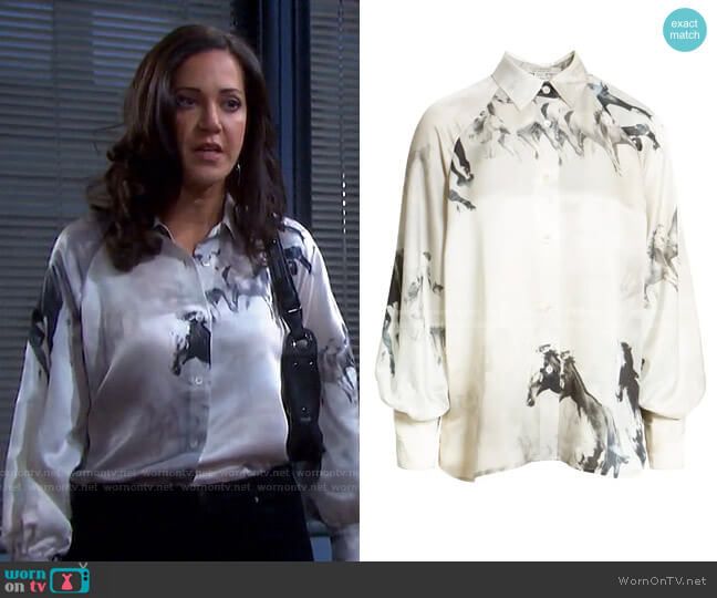 Oana Epoto Horse Print Blouse by All Saints worn by Jan Spears (Heather Lindell) on Days of our Lives