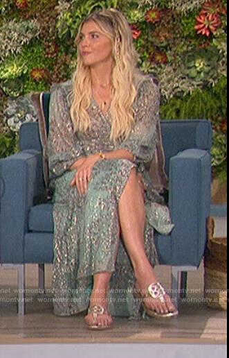 Amanda's blue floral wrap dress on The Talk