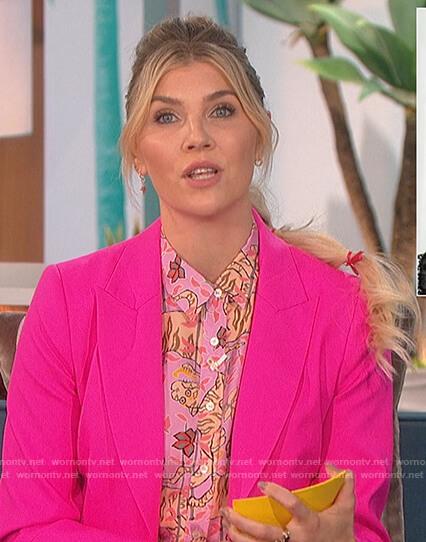 Amanda's pink tiger print blouse and blazer on The Talk