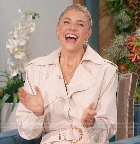 Amanda's ivory belted jumpsuit on The Talk
