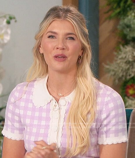Amanda's lilac check sweater top on The Talk