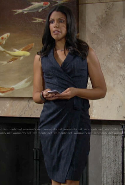 Amanda's navy pinstriped wrap dress on The Young and the Restless
