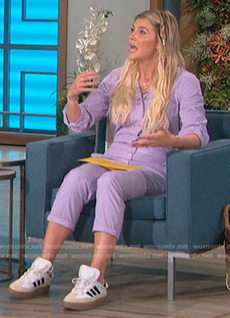Amanda's violet utility overalls on The Talk