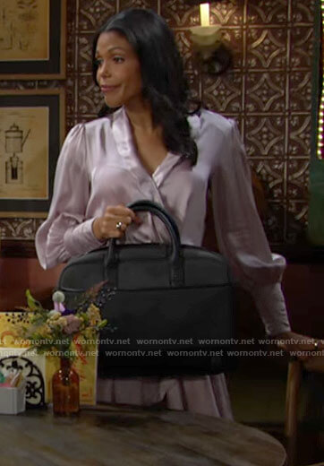 Amanda's light purple satin wrap dress on The Young and the Restless