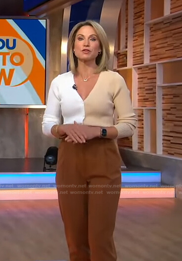 Amy's two-tone cardigan and brown pants on Good Morning America