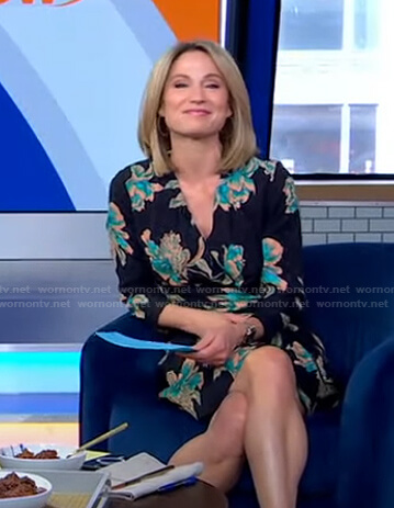 Amy's black floral wrap dress on Good Morning America