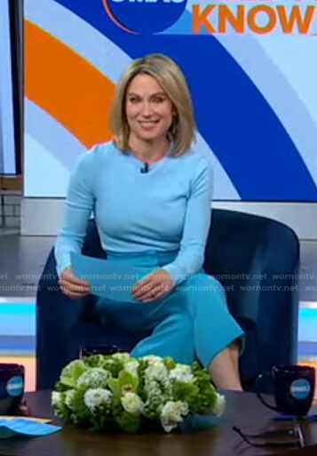 Amy's blue heart sweater and cropped pants on Good Morning America