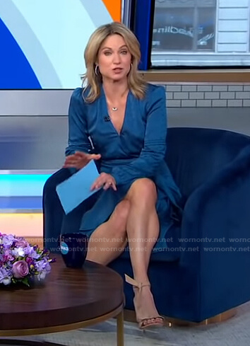 Amy's blue ruffle wrap dress on Good Morning America