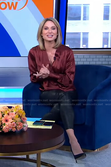 Amy's burgundy wrap top and leather pants on Good Morning America