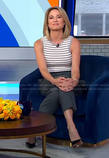 Amy's striped sleeveless top and grey pants on Good Morning America