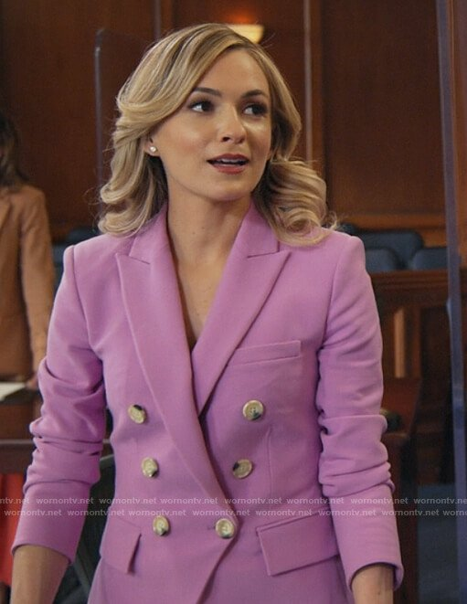 Amy's pink double breasted blazer on All Rise
