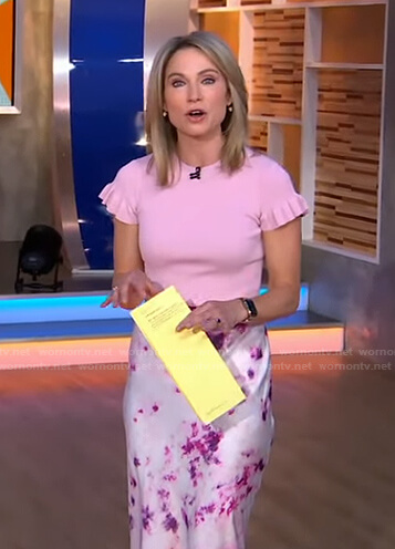 Amy's pink ruffle sleeve top and tie dye skirt on Good Morning America