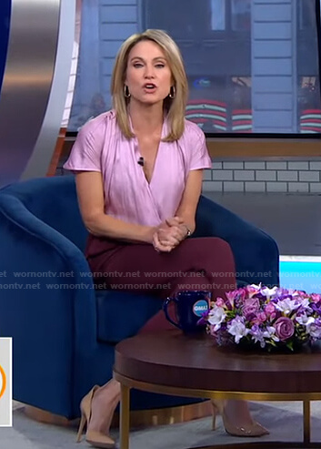 Amy's pink short sleeve wrap top and brown pants on Good Morning America