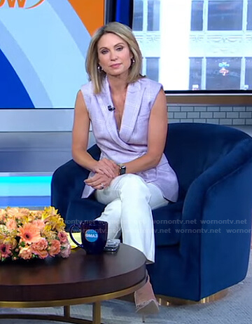 Amy's purple plaid vest and white pants on Good Morning America