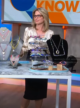 Amy's satin wrap top and black skirt on Good Morning America