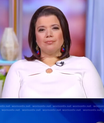 Ana's white ring detail sweater on The View