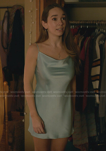 Angelina's blue satin mini dress on Manifest