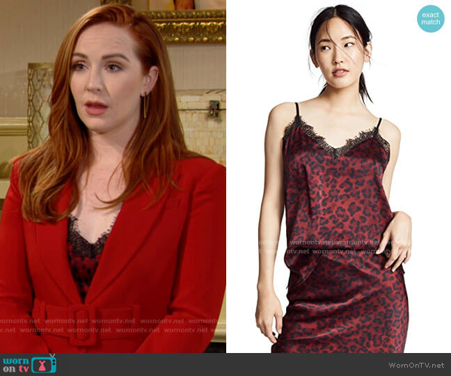Anine Bing Leopard Cami worn by Mariah Copeland (Camryn Grimes) on The Young & the Restless