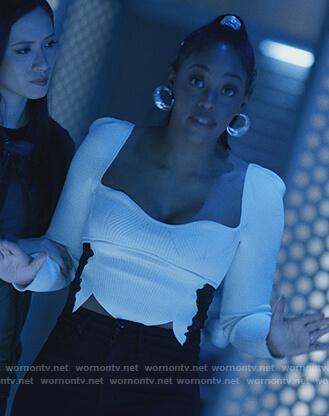 Anissa's white ribbed sweetheart top on Black Lightning