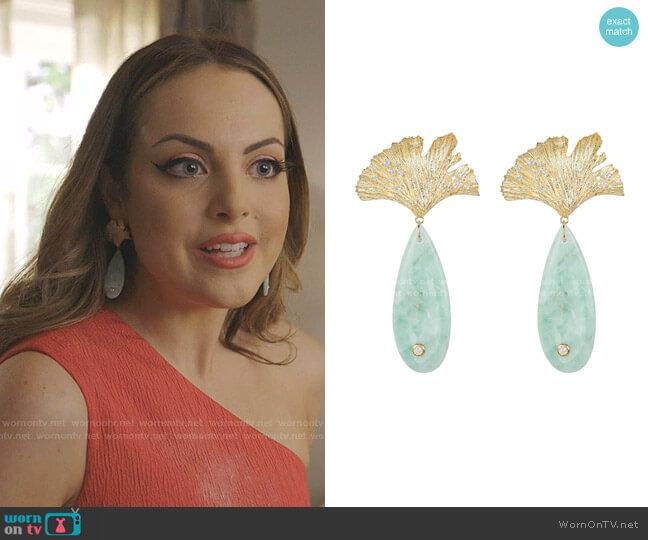 Sea Foam Onyx & Leaf Earrings by Apples & Figs worn by Fallon Carrington (Elizabeth Gillies) on Dynasty