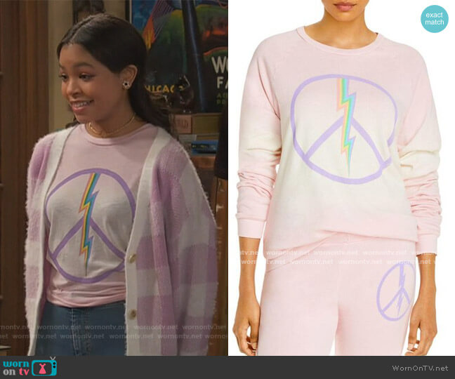Lauren Moshi x AQUA Electric Peace Sweatshirt by Aqua worn by Nia Baxter (Navia Robinson) on Ravens Home
