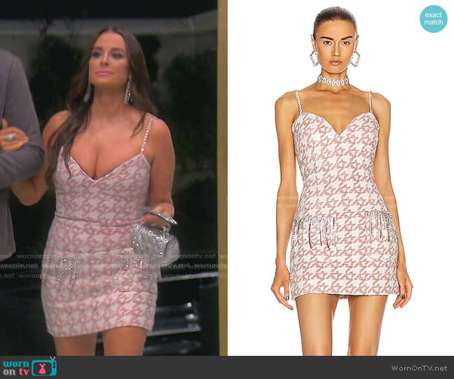 Crystal Fringe Structured Mini Dress by Area worn by Kyle Richards  on The Real Housewives of Beverly Hills