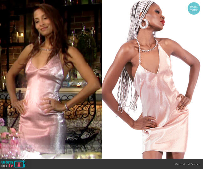 Area Asymmetrical Crystal Halter Dress worn by Lily Winters (Christel Khalil) on The Young & the Restless