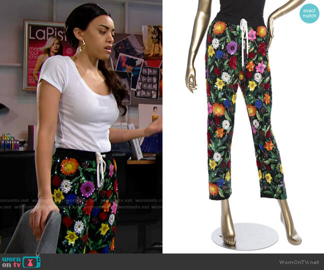 Ashish Floral Sequin Pants worn by Zoe (Kiara Barnes) on The Bold & the Beautiful