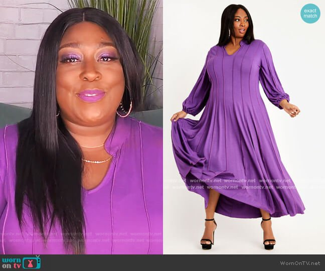 Seamed Poet Sleeve Knit Maxi Dress by Ashley Stewart worn by Loni Love  on The Real