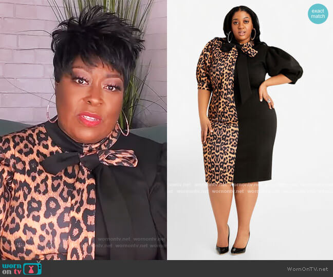 Leopard Colorblock Dress by Ashley Stewart worn by Loni Love  on The Real