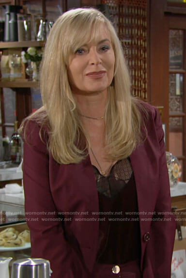 Ashley's red suit and velvet lace-trim cami on The Young and the Restless