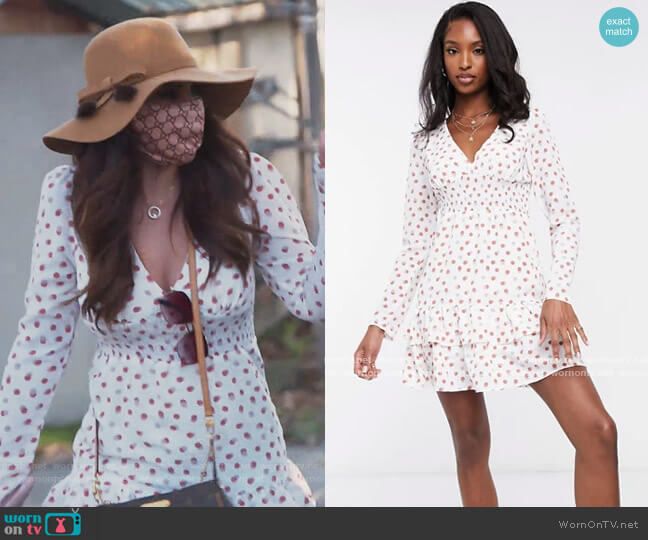 Fashion Union Tall mini dress with puff sleeves in polka dots by ASOS worn by Jennifer Aydin  on The Real Housewives of New Jersey