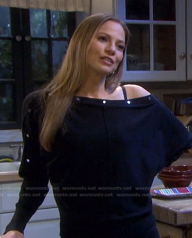 Ava's black button sweater on Days of our Lives