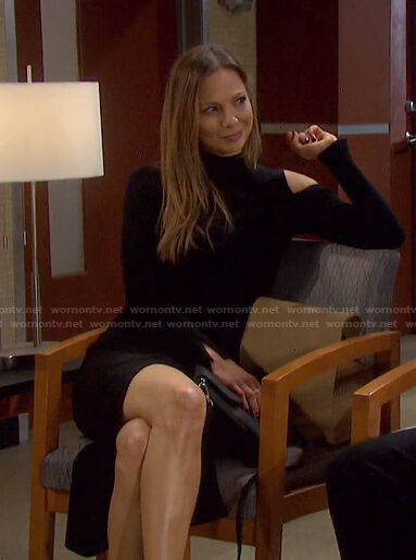 Ava's black ribbed cutout dress on Days of our Lives