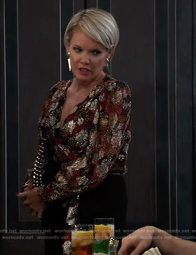 Ava's floral metallic wrap blouse on General Hospital