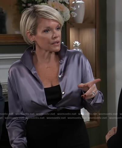 Ava's purple satin blouse on General Hospital
