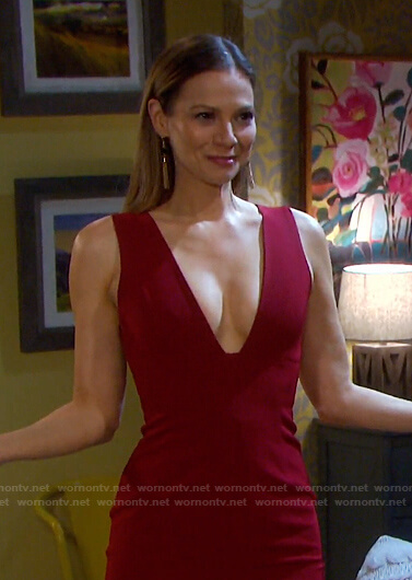 Ava's red plunge neck dress on Days of our Lives