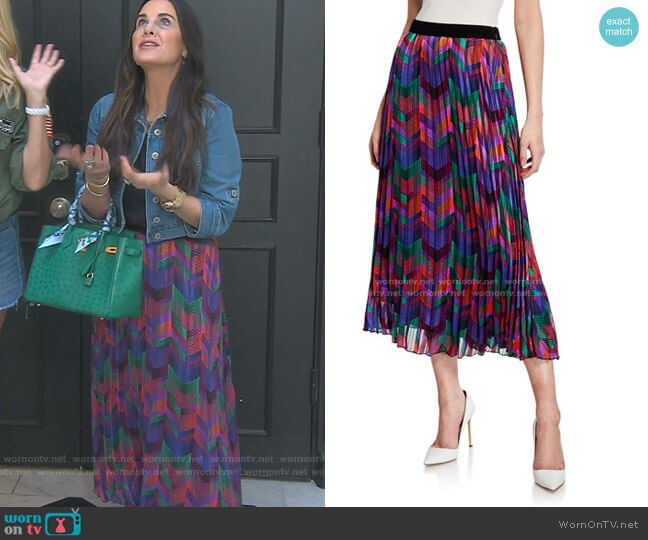 Paolo Pleated Chevron Midi Skirt by Ba&Sh worn by Kyle Richards  on The Real Housewives of Beverly Hills
