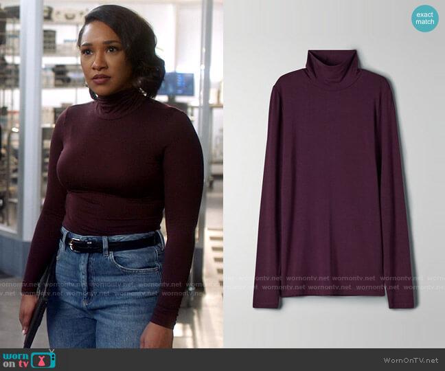 Aritzia Babaton New Slim Turtleneck worn by Iris West (Candice Patton) on The Flash