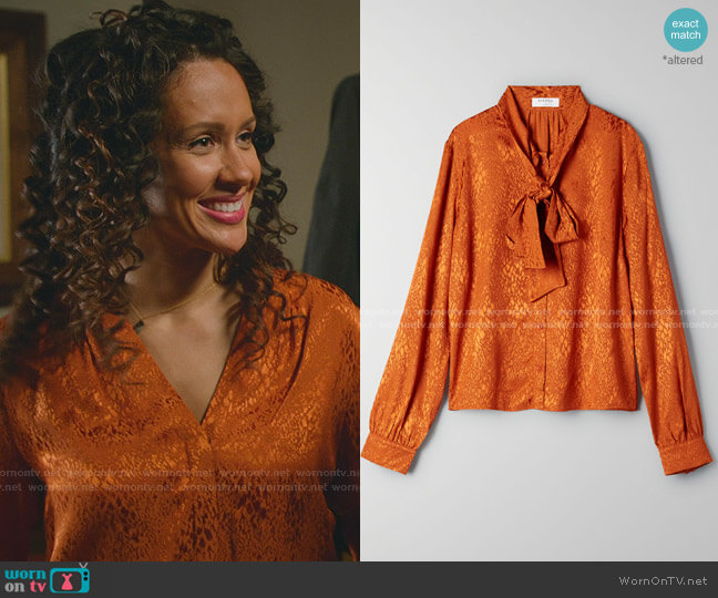 Vandelay Blouse by Babaton worn by Samora Smallwood on Good Witch