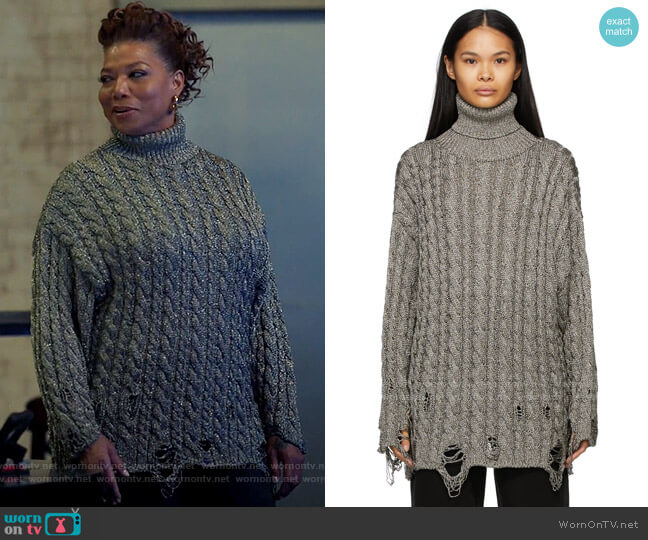Balenciaga Destroyed Turtleneck worn by Robyn McCall (Queen Latifah) on The Equalizer