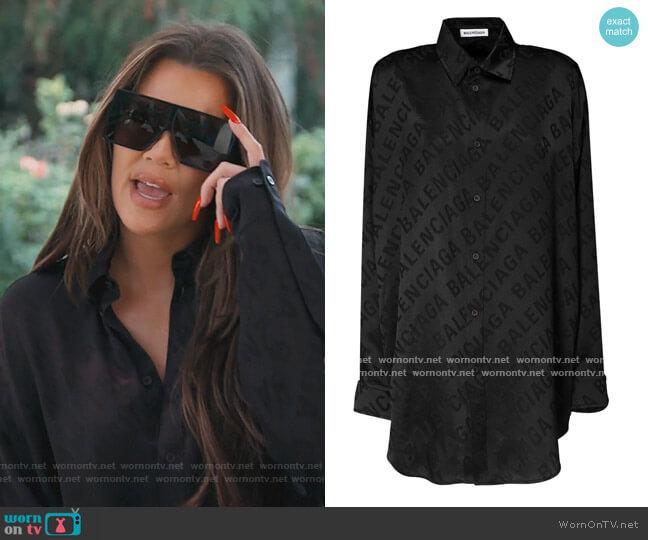 Oversized Logo Jacquard Satin Shirt by Balenciaga worn by Khloe Kardashian  on Keeping Up with the Kardashians